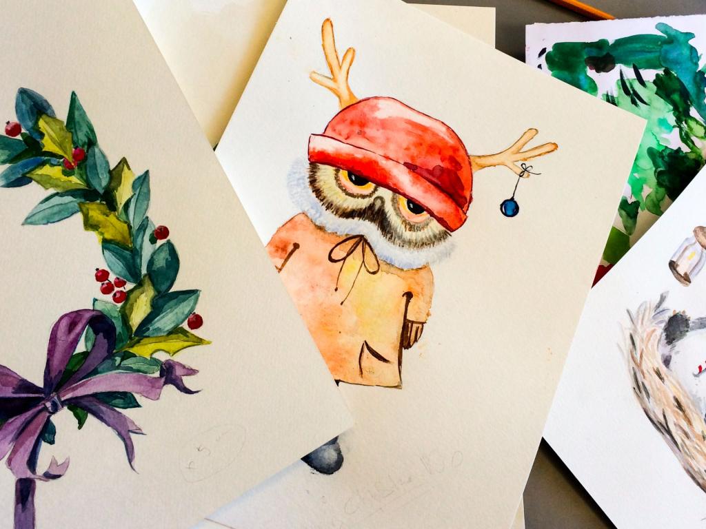 Vanocni-pohlednice-akvarel-7