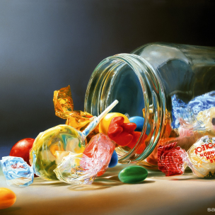 candy in a glass jar oil painting tjalf sparnaay