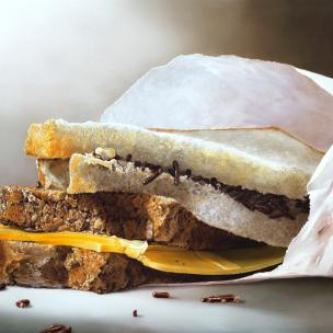 boterhammen met kaas en hagelslag lunch, schilderij Tjalf Sparnaay