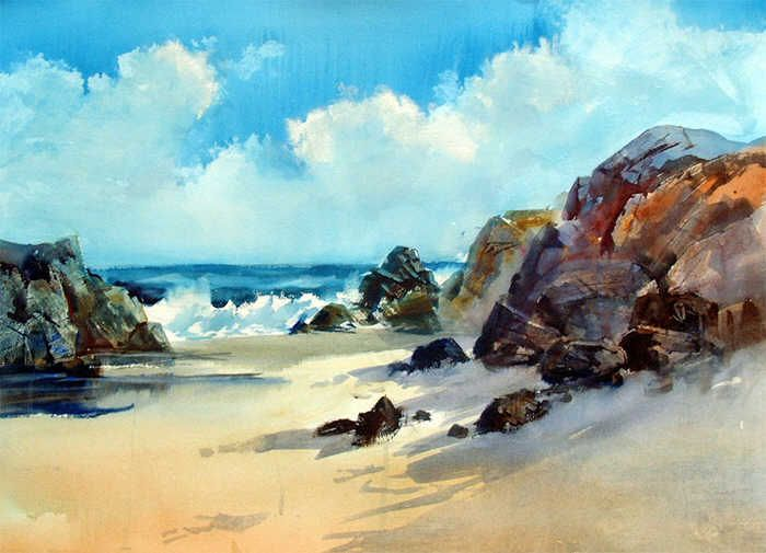 Sea, boat, landscape, picture, watercolor - #413577 landscape, watercolor, komentar, wallpaper, pengguna, chinese
