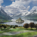 matte painting castle on the lake